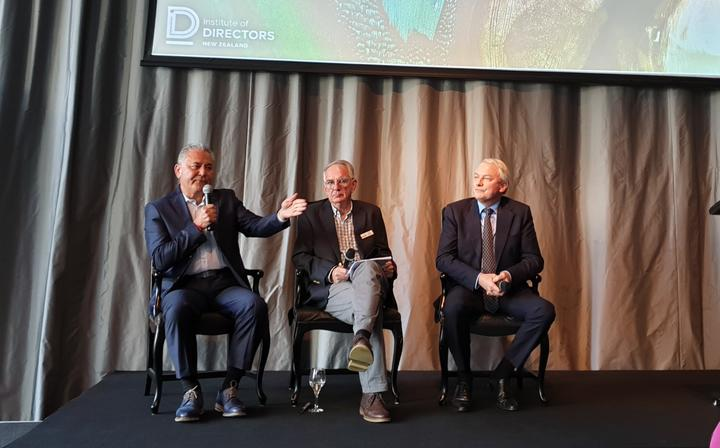 John Tamihere and Phil Goff debate at an Institute of Directors breakfast session.