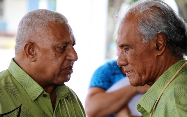 Fiji prime minister Frank Bainimarama (left) and Tonga prime minister Akilisi Pohiva both spoke on the issue of West Papua at the Pacific Islands Forum in Tuvalu. August 2019.