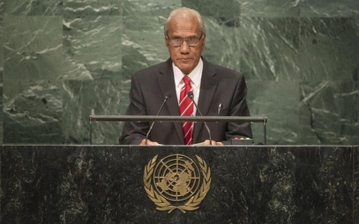 'Akilisi Pohiva speaking at the UN