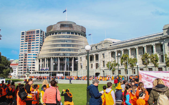 Orange Day Parade. Organisers said about 1200 primary school students, plus teachers and parents, took part in the parade, which left Parliament at 10am, finishing at the Michael Fowler Centre in Civic Square.