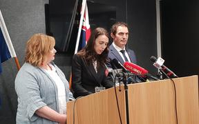 Megan Woods, Jacinda Ardern and Stuart Nash at an announcement of a new bill that will create a registry of guns.