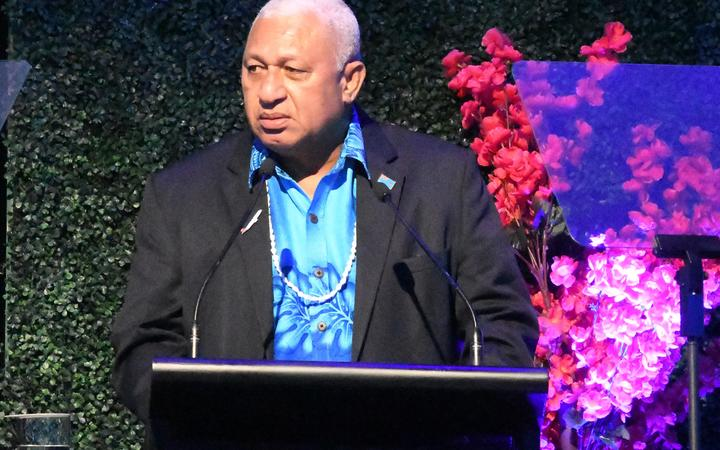 Prime Minister Frank Bainimarama addressed the Flying Fijians at their World Cup farewell.