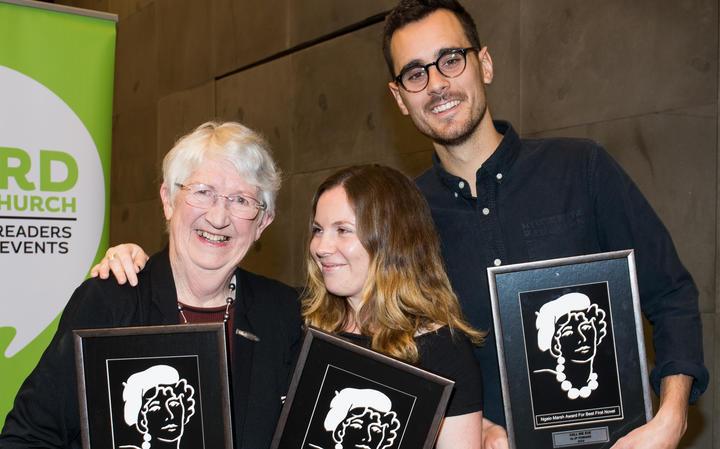 (From left) Dame Fiona Kidman, Kelly Dennett and J P Pomare