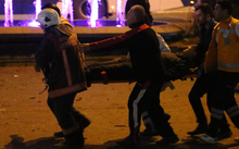 Police carry away one of the injured after a deadly explosion in the Turkish capital on 14 March 2016 (NZT).