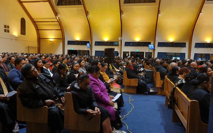 Mourners pack the Free Wesleyan Church of Tonga in Mangere.