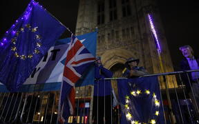 Anti-Brexit protesters with signs and EU flags demonstrate outside the Houses of Parliament in London on September 9.