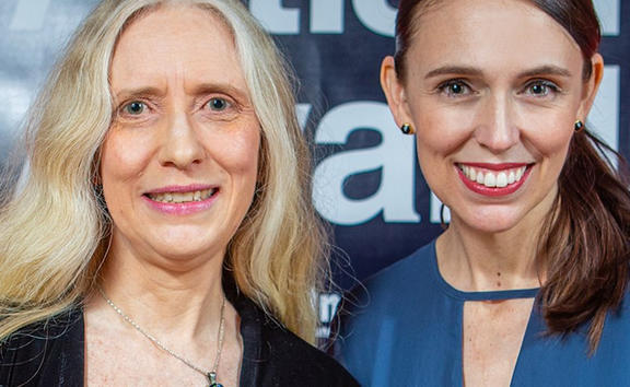 The 2018 Music Teacher of the Year, Elizabeth Sneyd, with prime Minister Jacinda Ardern