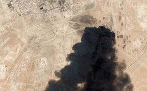 This satellite overview handout image shows damage to oil/gas infrastructure from weekend drone attacks at Abqaiq.