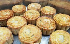 Mooncake made at the Moon Festival in Auckland