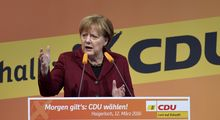 German chancellor Angela Merkel delivers a speech at the last electoral meeting in Haigerloch, southwestern Germany, ahead of regional state elections.
