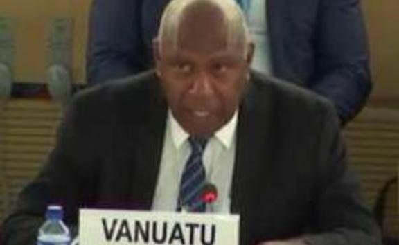 Vanuatu diplomat Sumbue Antas speaks about human rights concerns in West Papua at the UN Human rights Council in Geneva, September 2019.