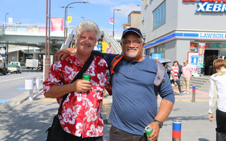Brian Hore and John Puna in Japan ahead of the Rugby World Cup opening ceremony.