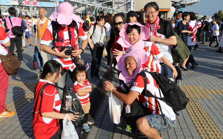 Japanese rugby supporters in Tokyo.