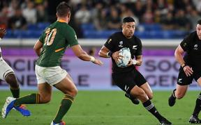 New Zealand's Richie Mo'unga in action during this evening's game