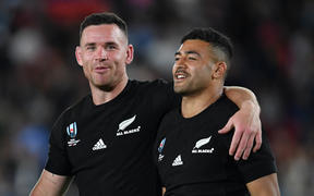 New Zealand's Ryan Crotty with Richie Mo'unga after their 23-13 victory at the