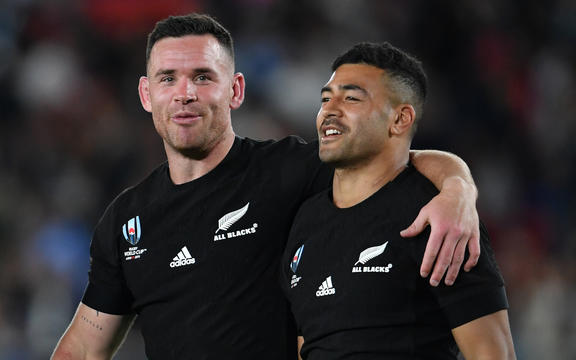 New Zealand's Ryan Crotty with Richie Mo'unga after their 23-13 victory at theRugby World Cup.