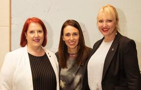 Catherine O'Connell and Jacinda Ardern
