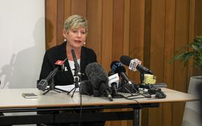 Christchurch mayor Lianne Dalziel speaks to reporters at the Christchurch City Council offices.