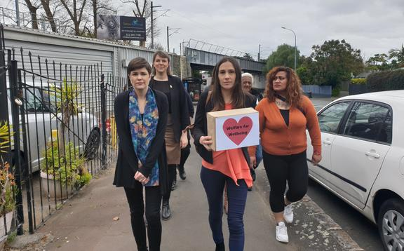 A petition calls for urgent changes to welfare system is delivered to Prime Minister Jacinda Ardern's electorate office in Auckland.