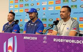 Samoa coach Steve Jackson, (right), alongside captain Chris Vui, (middle) and Motu Matu'u