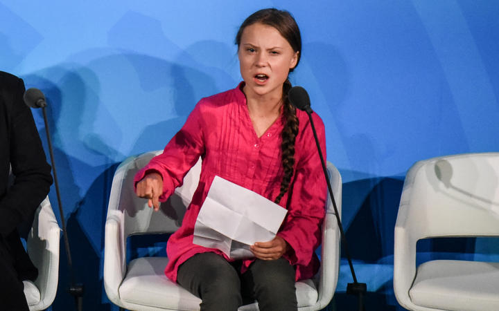 Youth activist Greta Thunberg speaks at the Climate Action Summit at the United Nations.