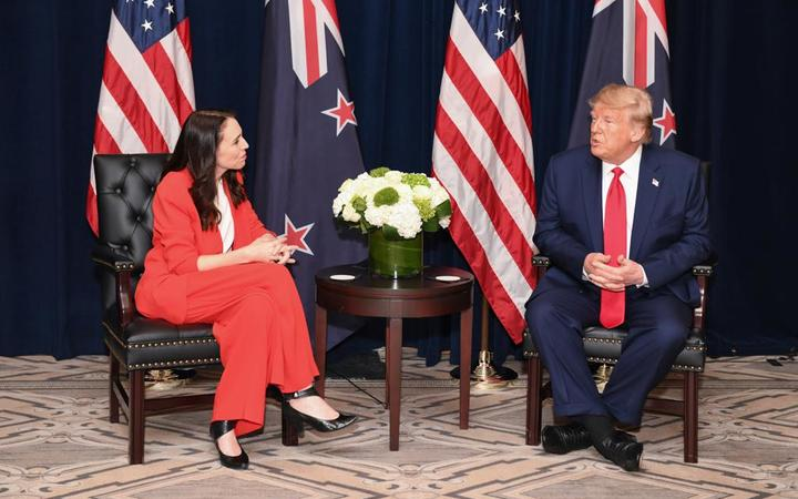 Prime Minister Jacinda Ardern with US President Donald Trump.