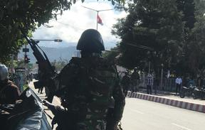 Indonesian military attending to protest in Wamena