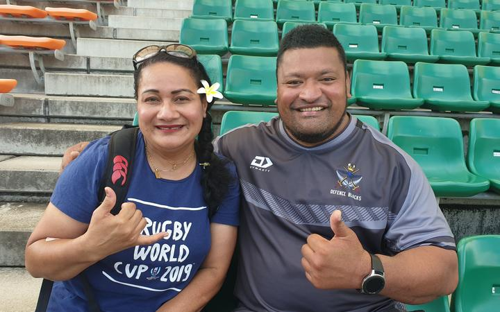Samoan Josie Tada and her cousin Malaga Leota who is the scrum coach for the Defence Force rugby team.
