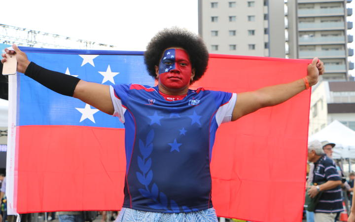 Manu Samoa fan Filipo Tovio was at the Samoa v Russia game.