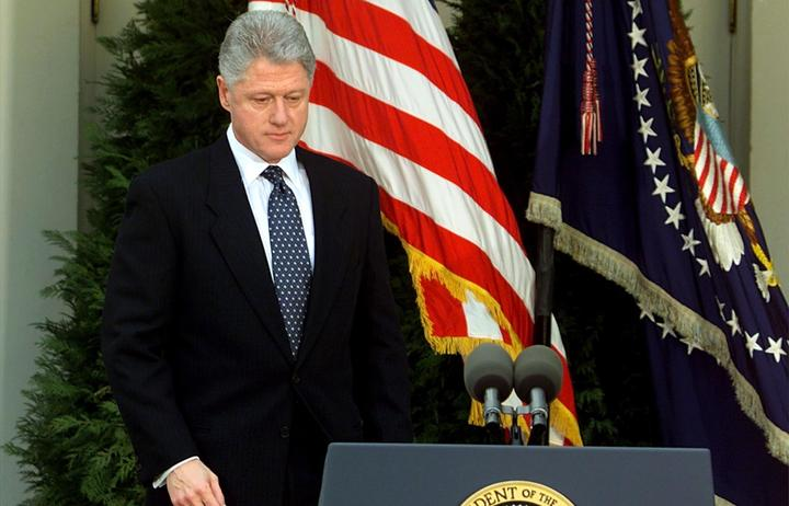 US President Bill Clinton in February 1999, after the impeachment trial in the Senate failed to get close to the two-thirds backing needed in order to pass