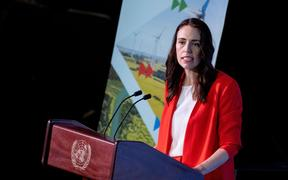 PM Jacinda Ardern addresses participants at the UN Climate Change Conference