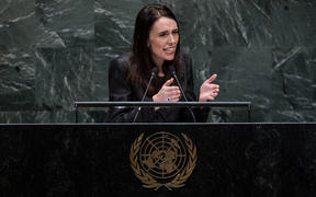Prime Minister Jacinda Ardern speaking  during the 74th session of the United Nations General Assembly on September 24.