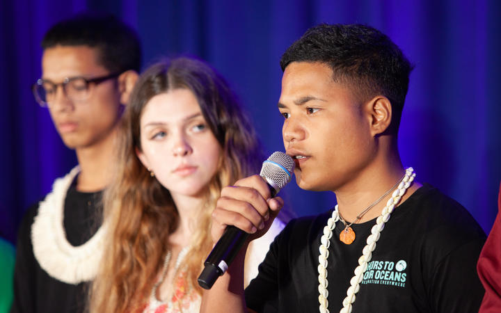 At UNICEF House in New York, Ranton Anjain, 17, from Ebeye, Marshall Islands, speaks at a press conference announcing a collective action being taken on behalf of young people facing the impacts of the climate crisis.