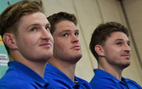 Barrett brothers Jordie (L), Scott (C) and Beauden (R) attend a press conference in Beppu.