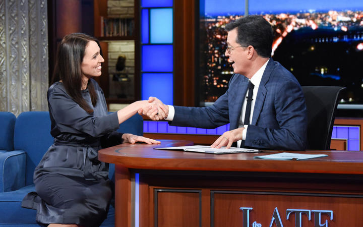 Jacinda Ardern on the Late Show with Stephen Colbert.