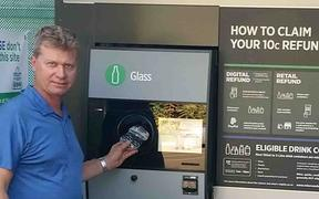 Marty Hoffart at an Australian bottle refund centre