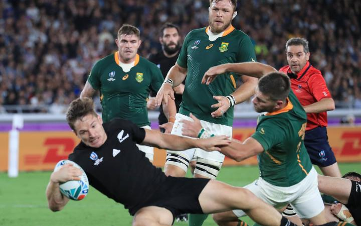 George Bridge (11) of New Zealand tries in the first half during the Pool B match of 2019 Rugby World Cup against South Africa at the International Stadium Yokohama (Nissan Stadium) in Yokohama City, Kanagawa Prefecture on September 21, 2019.