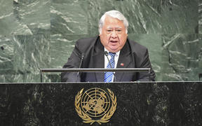 Samoa's Prime Minister Tuilaepa Sailele Malielegaoi speaks during the General Debate of the 73rd session of the General Assembly at the United Nations.