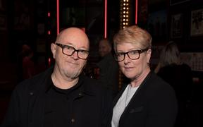 Dave Dobbyn and manager Lorraine Barry at Silver Scrolls 2019.