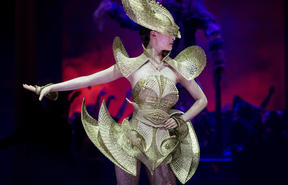 The Lady Warrior, by Rinaldy Yunardi of Indonesia, is modelled in the Avant-garde Section during the World of WearableArt