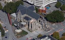 An aerial view of the damaged Christ Church Cathedral.