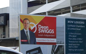 Deon Swiggs billboard in Christchurch.