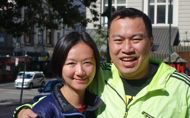 David Law and wife, Hetty Wong. Reco Auckland for Moved to Dunedin a month ago from Auckland.