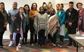 Pacific island designers in Auckland with New Zealand MP Agnes Loheni, fifth from  left, and stylist Nora Swann, far right.