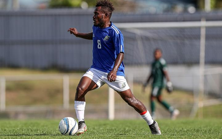 Solomon Islands Patrick Taroga on the ball. OFC Men's Olympic Qualifier 2019.