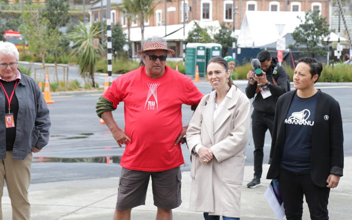PM Jacinda Ardern with Hoturoa Kerr at the Tuia 250 event.