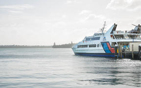 A Fullers ferry leaving the Auckland Ferry Terminal