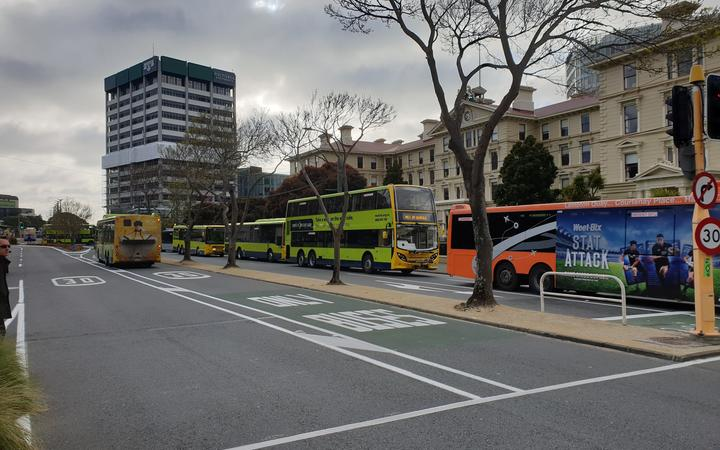 Buses queuing outside Lambton Quay and Bowen Street after disruptions caused by an Extinction Rebellion protest on 7 October.