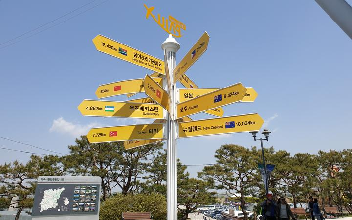 At the DMZ, a signpost to New Zealand.