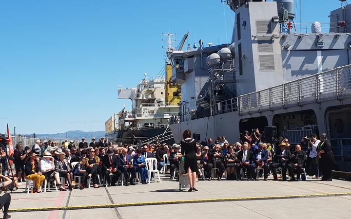 The private civic ceremony held at Gisborne harbour for the crew of the tall ships and the waka flotilla.
